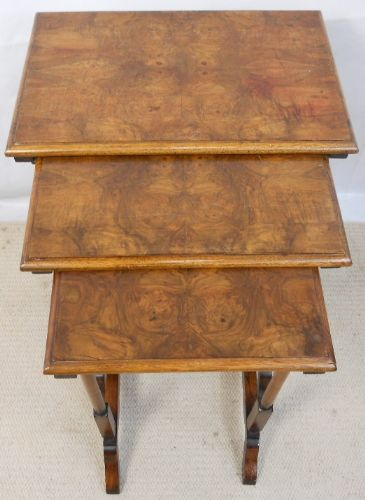 Antique Georgian Style Walnut Nest of Three Coffee Tables - SOLD